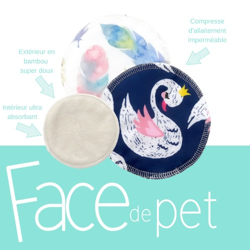 Face de pet - compresse d'allaitement (paquet de 4)